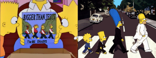 On the left: part of what made people love The Simpsons.  On the right: Shameless self promotion for a show living off its past.