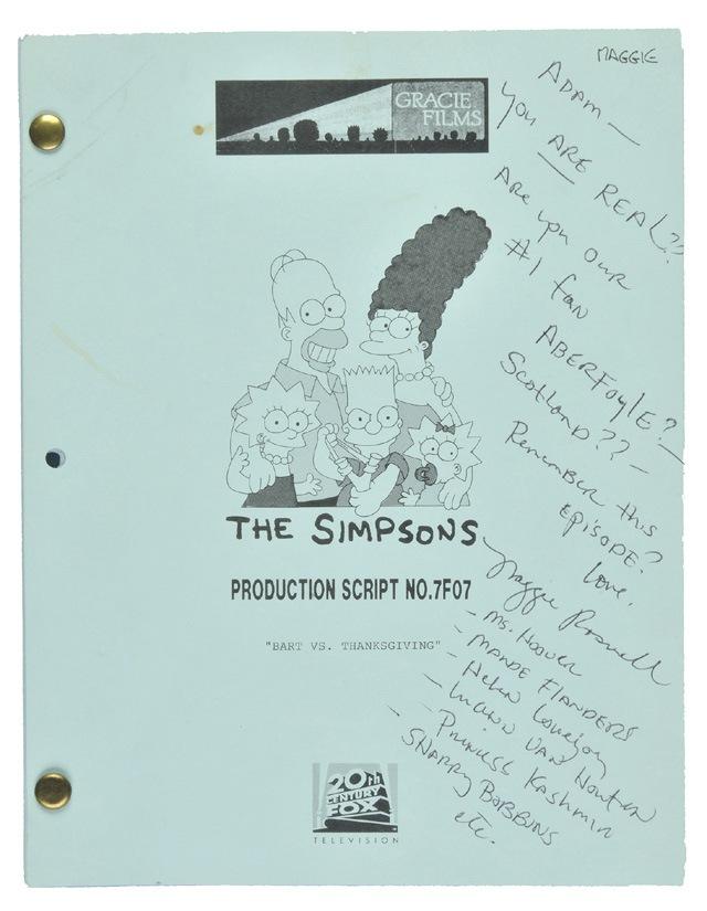 Auctioned Simpsons Script