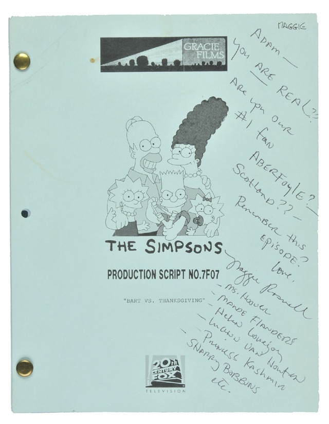 Auctioned Simpsons Script