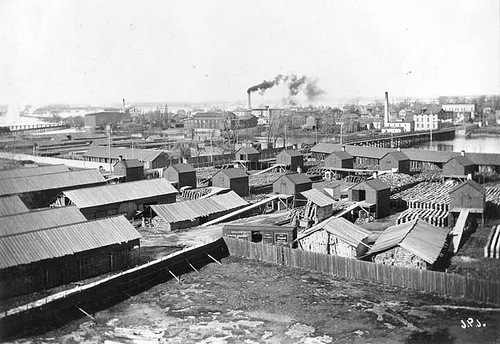 Menasha Wooden Ware looking north circa 1890. Drying kilns, lumber yard, and mill. The lumber yard was located on the site of James River parking lot.