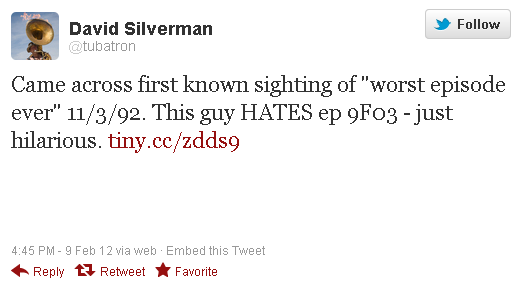 Silverman Worst Episode Ever Tweet
