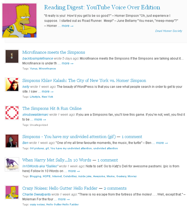 Wordpress 'Simpsons' Tag (7 July 2012)